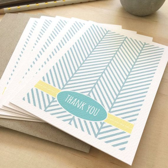 Thank You Card Pack Geometric Blue And White Herringbone Set Of