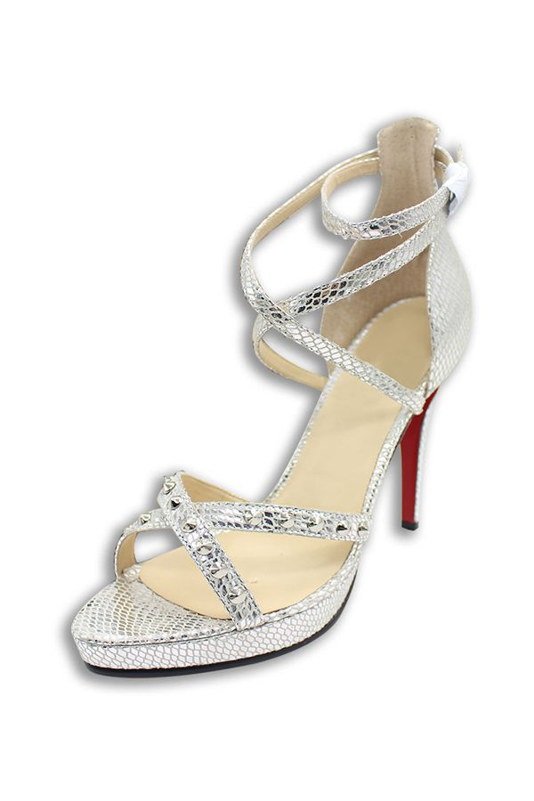 Strappy Posh Sandals with Studs in Silver