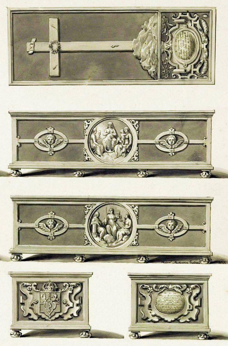 Tin sarcophagus of Anna Jagiellon with allegory of faith, hope, love, justice, wisdom and courage in two tondos by Anonymous from Gdańsk, ca. 1596, Katedra na Wawelu