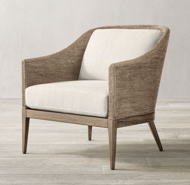 Marisol Seagrass Slope Arm Chair, Small Modern Armchair