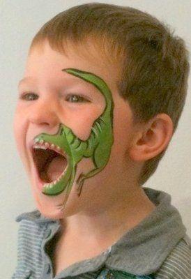 T Rex facepaint so cute