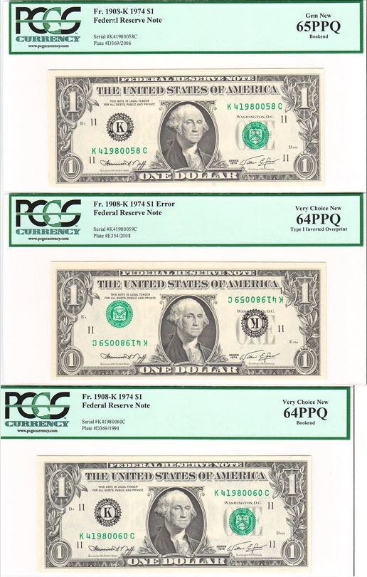Bookends can also be notes in a consecutive serial number sequence at the beginning and end of a specific note. For example, the notes below have an inverted overprint note in the middle with (upside down) serial number K41980059C. The bookends have serial numbers, K41980058C and K41980060C.