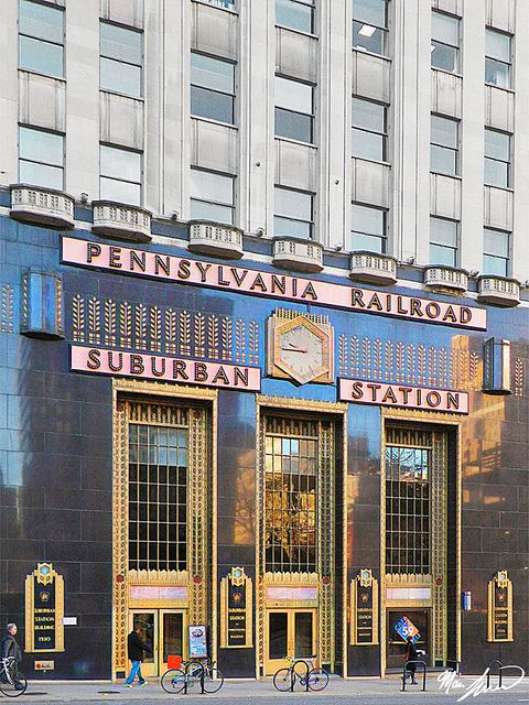 Suburban Station, Philadelphia by marcszar, via Flickr // Someday I'm going to design black and gold stranded mittens (or socks) with the abstract leaf/sheaf pattern next to the clock on the front of Suburban Station. Maybe with some hexagons thrown in for good measure.