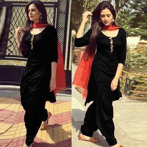 Black Designer Patiala Suit with Red Dupatta.
