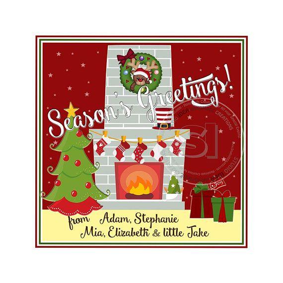 Custom Christmas Printable 2.5 Square Tags-Season's
