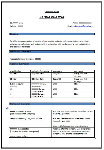 Resume Format for Experienced Company Secretary (1)