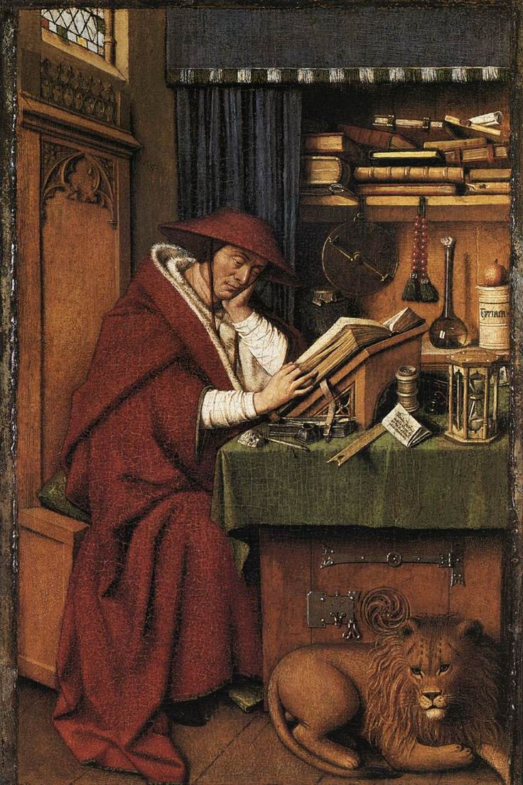 Jan van Eyck (circa 1390–1441)   St Jerome Date	1442  	Oil on parchment on oak panel  	Height: 20 cm (7.9 in). Width: 12.5 cm (4.9 in). 	 Detroit Institute of Arts