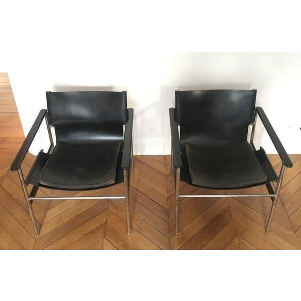Paire de fauteuils de Charles Pollock, modèle ´657´ ou ´Sling', années 60', Knoll éditeur. Structure en acier chromé et acier laqué noir. Assise et dossier en cuir...  - cuir - noir - bon état - design