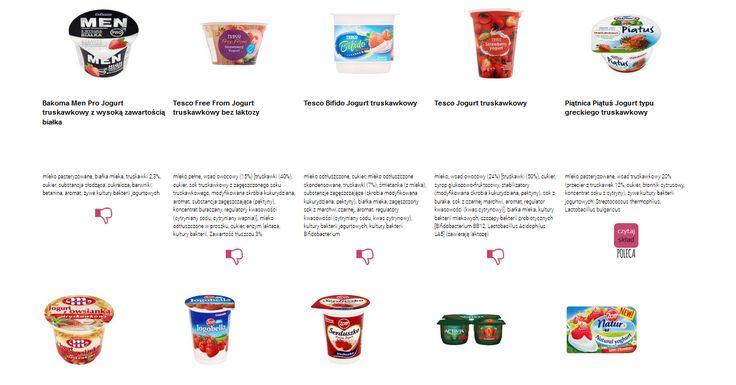 Czytamy skład i porównujemy etykiety produktów Jogurty truskawkowe. Zobacz skład i polecane produkty przez Czytaj Skład