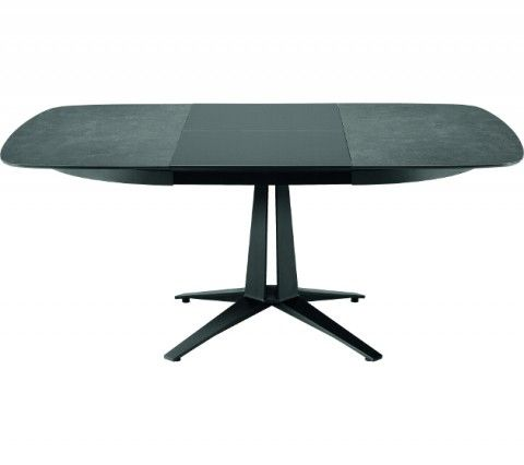 The first Midj extendable round table features elegant curves and a solid four-star base.  Link is particularly versatile thanks to two top versions available: round or square / oval. Link comes as an original table, perfect whether at home or in the office thanks to its tops: whatever their form, face-to-face relationship is guaranteed.  Steel laser cut frame supports a framework  with a central opening mechanism.  Link has several tops: veneer, printed glass, crystal ceramic and MDF…