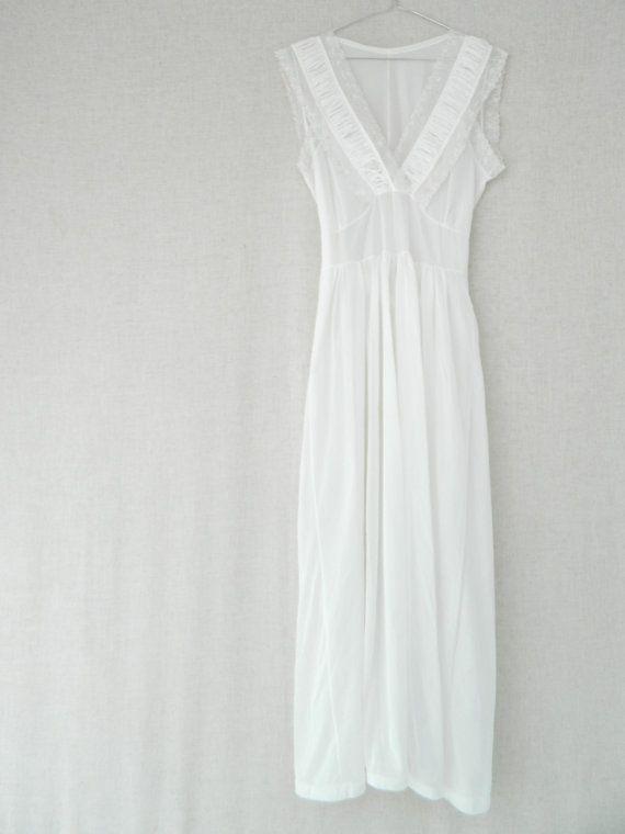 DaisyMAY . vintage women's long maxi nightgown wedding dress bridesmaid dress . white . pastel . etsyau wandarrah oz au Australia