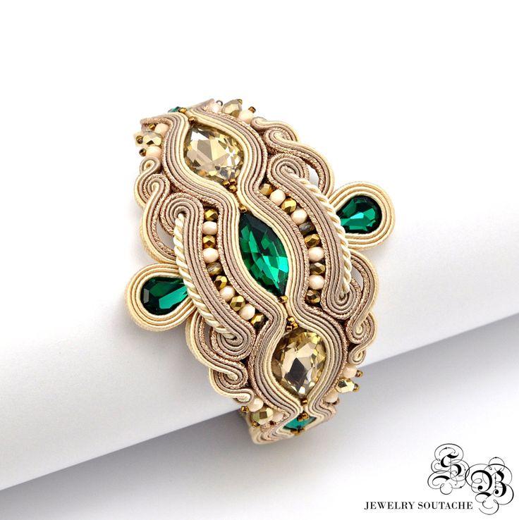 Gold Beige Soutache Bracelet, Gold Green bracelet,  Soutache Jewelry, Unique Soutache Bracelet, Elegant soutache bracelet, Glamour bracelet by SBjewelrySoutache on Etsy