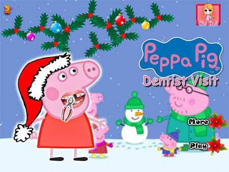 Peppa Pig Christmas Dentist game. It is around the Christmas holiday and Peppa Pig has a terrible problem with his teeth and this makes him very sad now. You really need to help him because if he does not solve his problem he could not eat the sweets that will surely receive from Santa Claus. This should not happen, so he will be very happy on Christmas Day. So, girls let us help him!