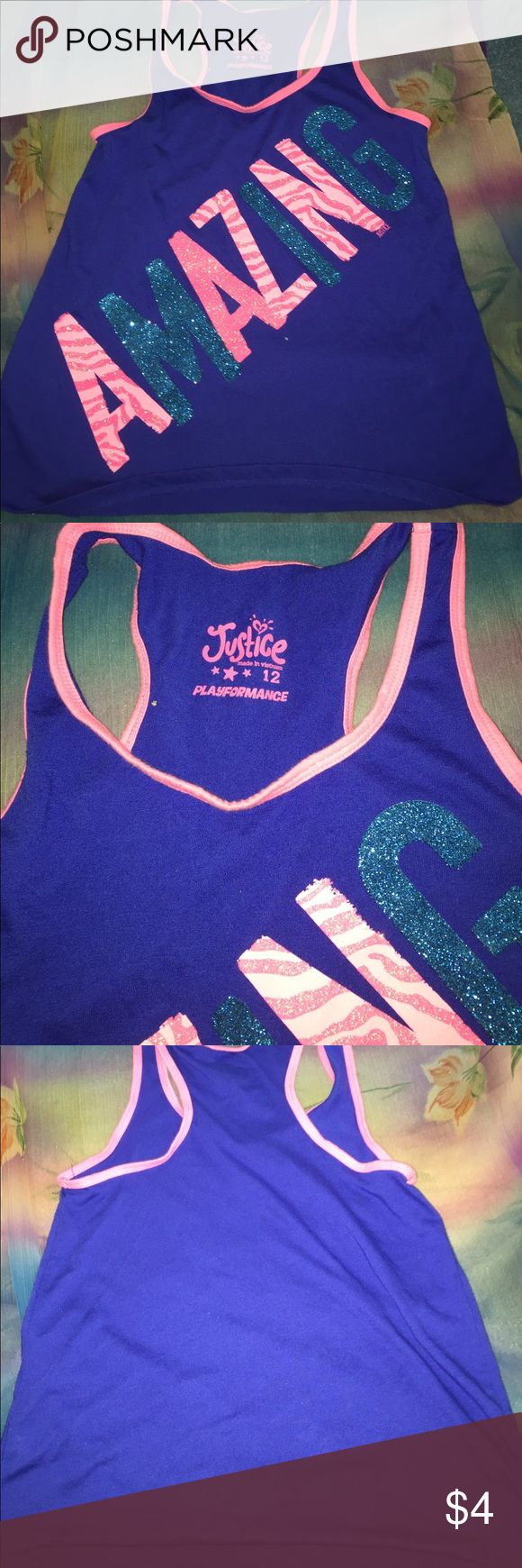 Justice blue muscle shirt Blues muscle shirt with pink trim. Size 12 justice playformance Justice Shirts & Tops Tank Tops