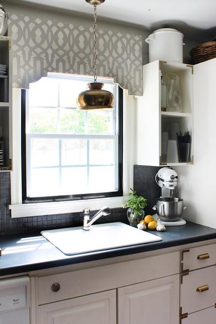 DIY Stenciled Cornice Board Window Trellis Over Kitchen Window