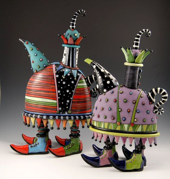Love these teapots - artistry in action! Jester Teapot with Shoes by natalyasots on Etsy, $1275.00