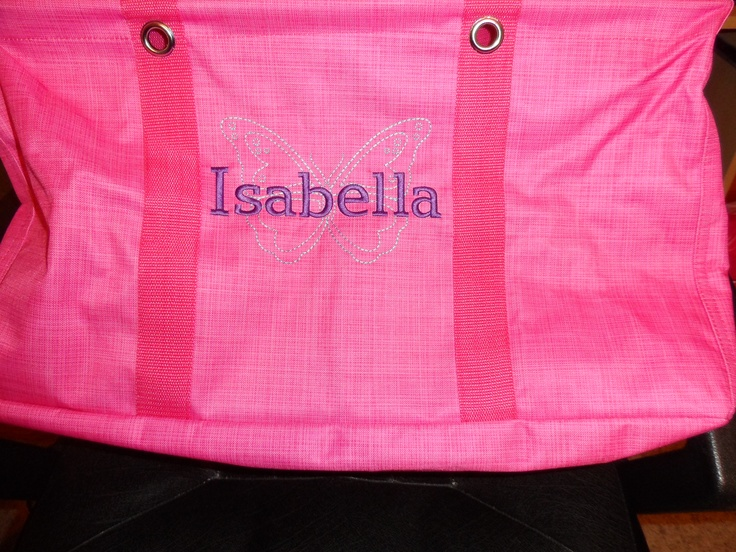Thirty one large utility tote in pink cross pop with icon