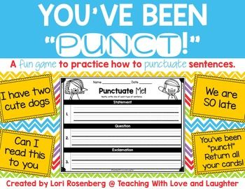 Punctuation Game by Teaching With Love and Laughter | TpT