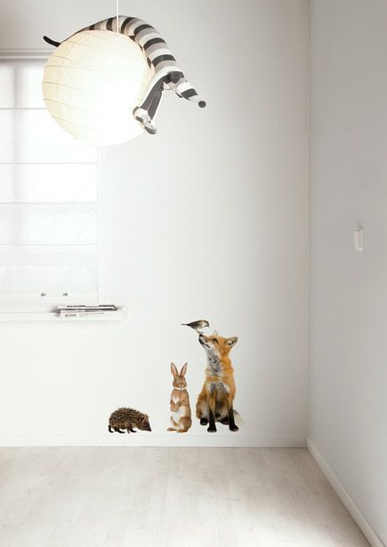 Muurstickers dieren vos, konijn, egel en mus Forest Friends SET 3.