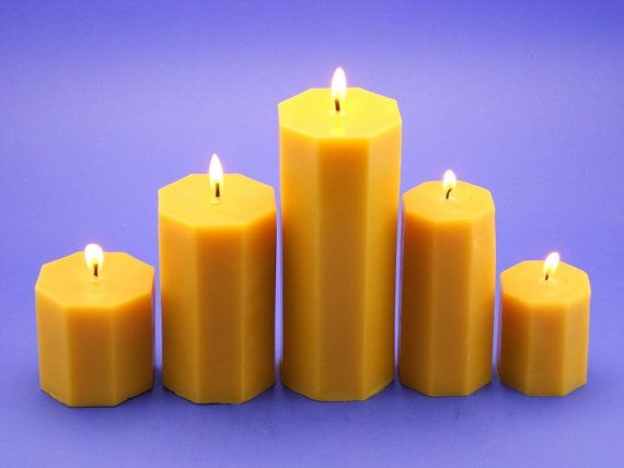 Octagon Shaped Beeswax Pillars Set of 5 Organic Cappings Beeswax Candles With Over 690 Hours of Burn Time