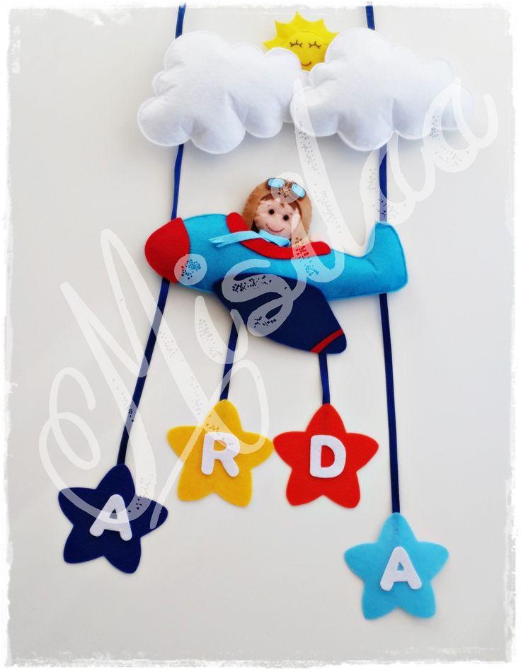 Pilot Bebek Kapı Süsü * Handmade * Baby Door Wreath * Keçe Uçak * Felt Feltro * Baby Shower * www.misilaa.com