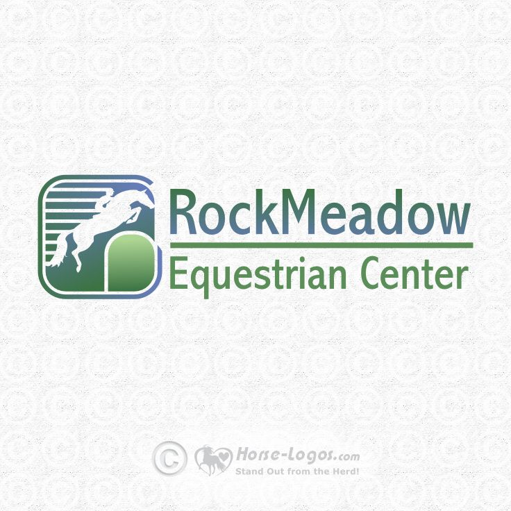 Jumping horse logo design create by Joni Solis of Horse-Logos.com for the RockMeadow Equestrian Center. #horse #logo #design #equestrian #stable #equine
