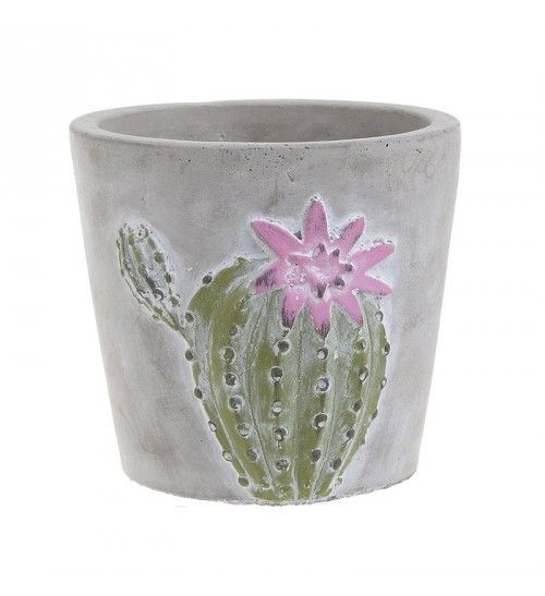 CEMENT FLOWER POT CACTUS IN GREY_GREEN COLOR 11X11X10