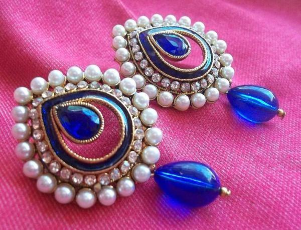 Blue drop pearl stone earrings - cooliyo.com