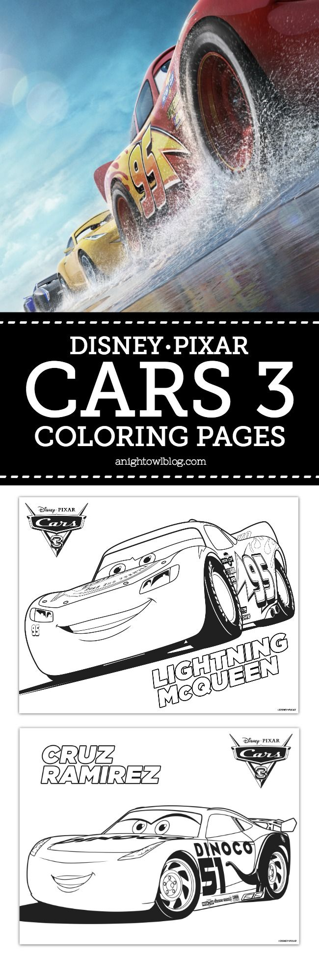 Hot off the presses! If your kids are excited about NEW Disney Pixar's Cars 3, download these FREE Disney Pixar Cars 3 Coloring Pages today!
