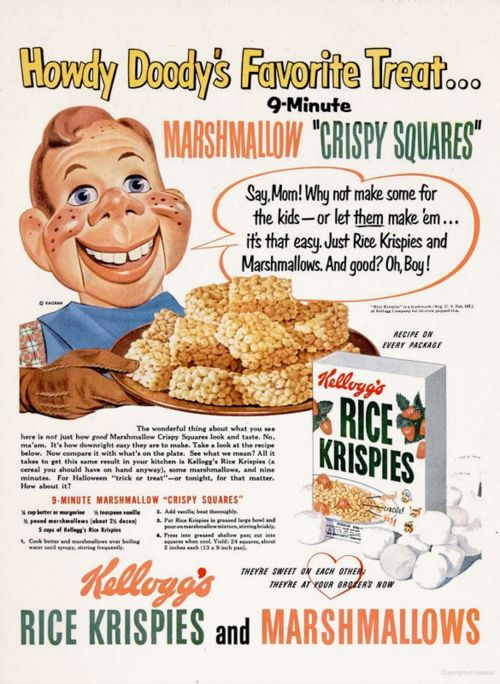 Retro Recipes 1950S | cereal rice krispies 1950s 1951 vintage recipes vintage advertising ...