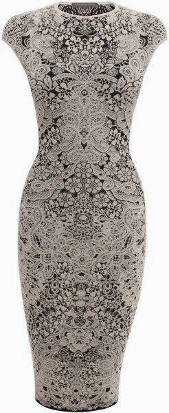 Spine Lace Crochet Jacquard Pencil Dress