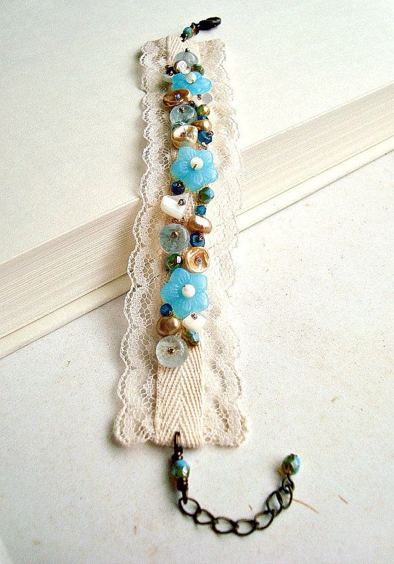 Vintage Lace Cuff Bracelet in Blue Cream and by BellaAnelaJewelry, $34.00