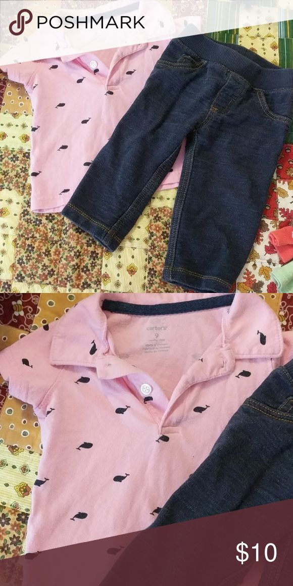 Set polo and jeans 9m Carter's 9m polo and jeggings for boy. Super cute and great condition! Matching Sets