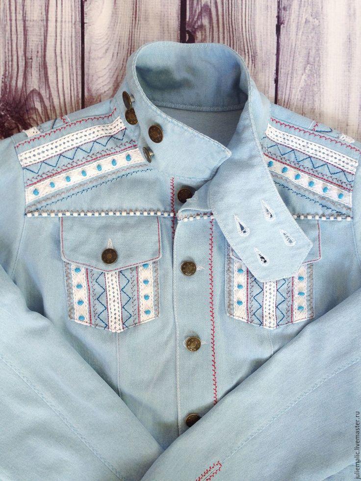 Купить Эксклюзивная джинсовая куртка в этно-бохо стиле - джинсовая куртка, куртка джинсовая, джинсовка