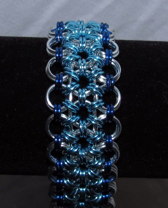 Flower Chainmaille Cuff Bracelet/Japanese 12-in-2