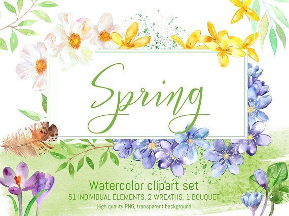 Watercolor Spring Clipart Set Spring Flowers Clipart Hand