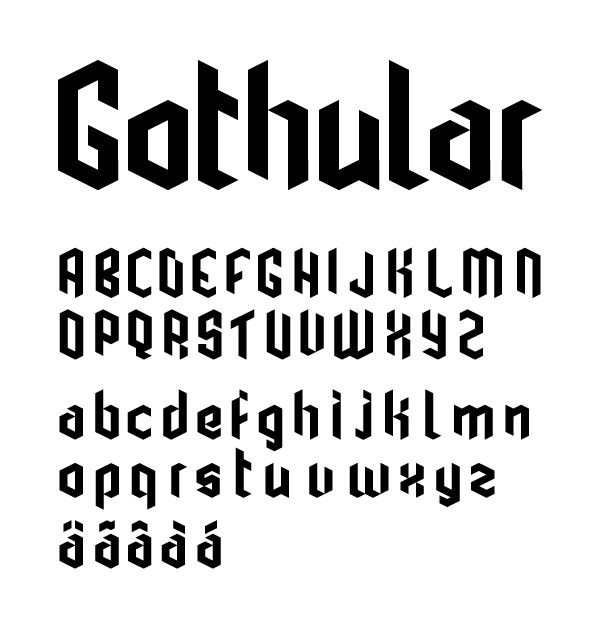 Gothular is a free modular modern gothic typeface.