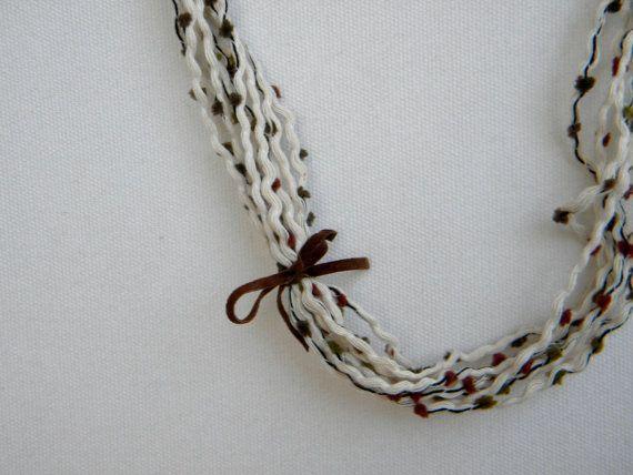 Fibre necklace long boho jewellery eco friendly brown by prosinemi