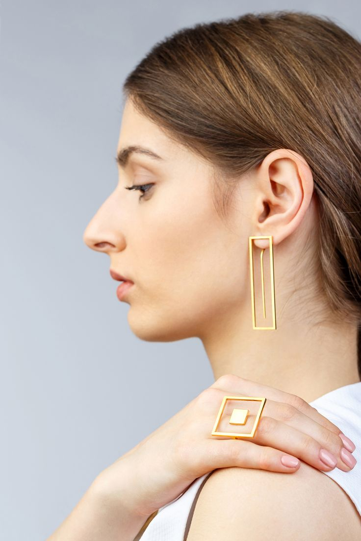 Minimalist Architectural Jewelry - Ring and Earrings in 18K Gold Plated Sterling Silver by MOPHT Studio