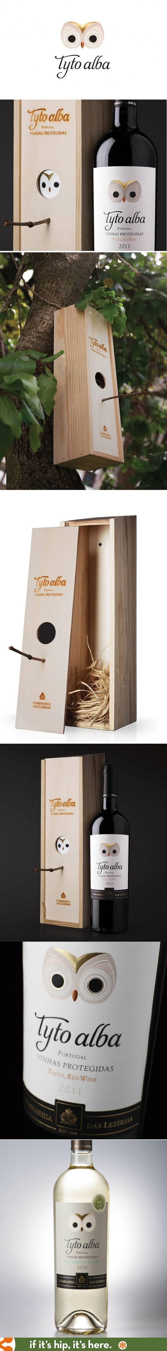 Tyto Alba Wine has some of the cutest packaging I've ever seen. Playing off the owl logo, Rita Rivotti wine branding and design has turned the wooden case into a birdhouse.: