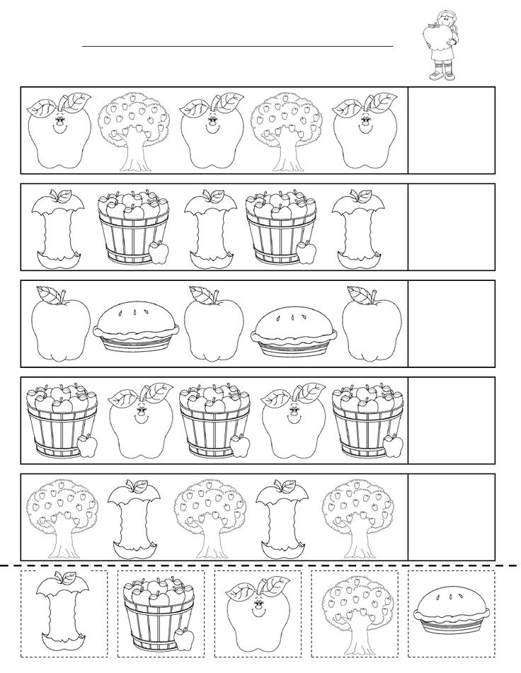 Apple Patterning Sheet. Students catch on to patterns MUCH easier when they point and SAY each image out loud. If difficulties still persist, use a beat with voice infonation. I often use these sheets to scan & create more difficult pattefns using powerpoint for my more advanced students. (ABAC, ABCDABCD)