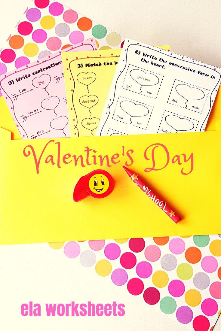 Valentine S Day No Prep Worksheets Contractions And Possessives Valentines Ela Worksheets Possessives [ 1102 x 735 Pixel ]