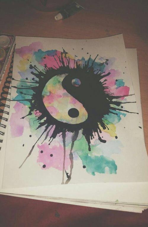 Yin Yang Design watercolor art tattoo idea red green and yellow watercolor                                                                                                                                                                                 More