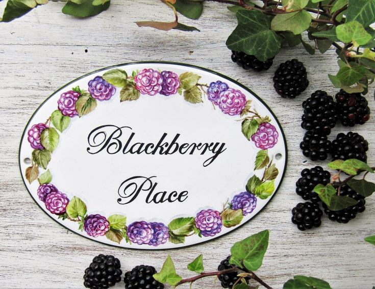 Blackberries personalized house sign, Hand painted house sign, Porcelain house name plaque, Custom address plaque, Outdoor House Name Sign by LaTavolozzaShop on Etsy