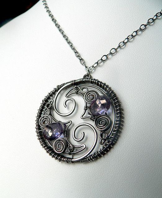 wirework pendant moons and stones. Gorgeous! #wire #jewelry #pendant