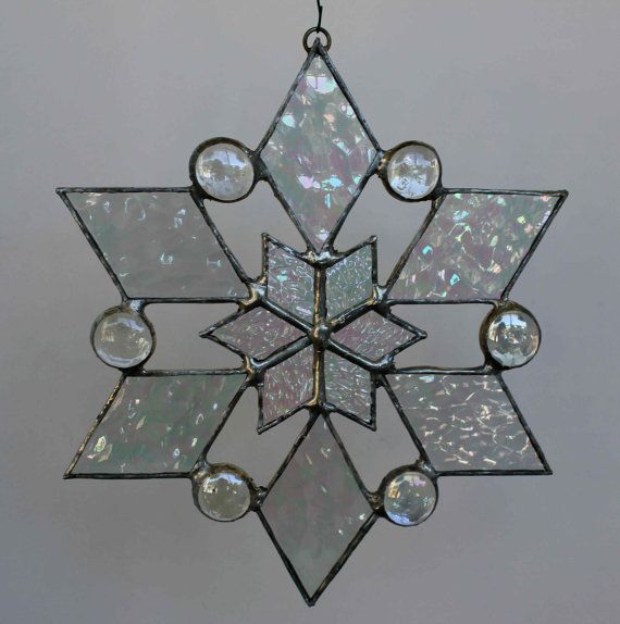 stained glass snowflake suncatcher design 2 by bitsandglassart