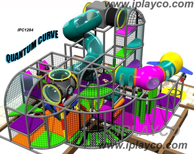 IPC1284 - - mid size Quantum Curve themed indoor playground design. Contact us for more information about this themed play structure. www.iplayco.com