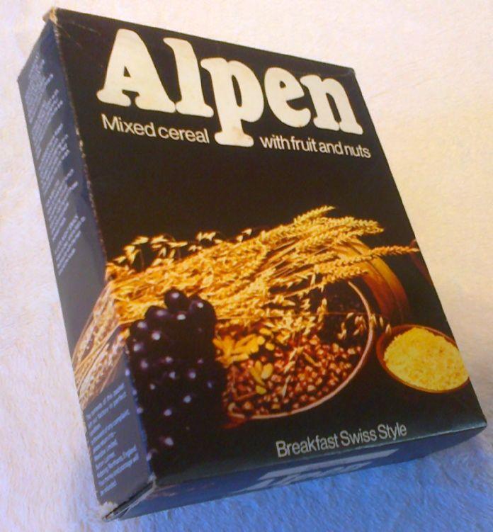 Alpen cereal box, 1970s.