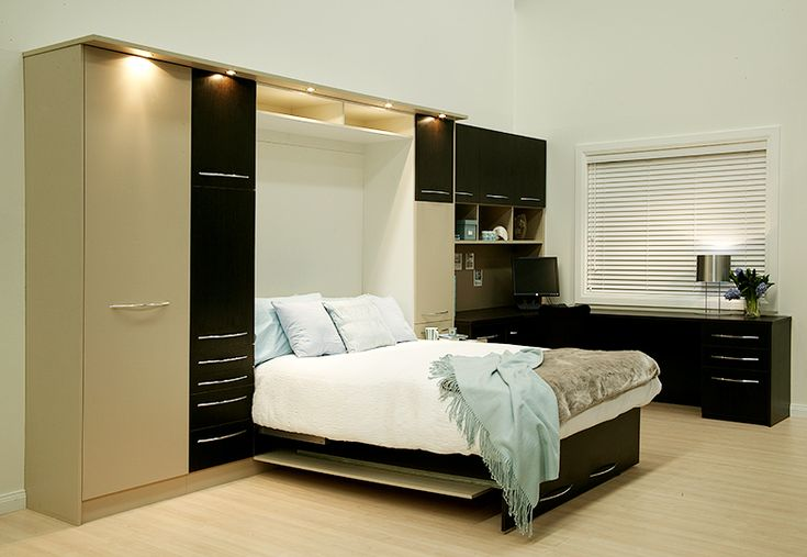 Double fold down wall bed with side storage corner home - Bed that folds down from wall ...