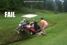 There had to have been an easier way to get across...LOL #GolfCartFail | Rock Bottom Golf #RockBottomGolf